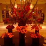 floral arangments inside the lobby doors