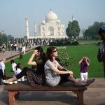 side shooting of us~with legendary Taj Mahal  one of the 7 wonders in the world