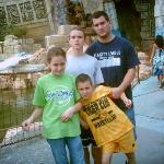 Jeremy and the kids outside of Poseiden's Tomb. (Islands of Adventure/Universal Studios)