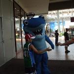 Isaiah hugging Sharky from the Aquarium
