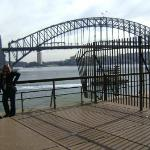 My grandma  and I with the Sydney Harbor Bridge in the background