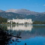 The hotel from one end of the lake