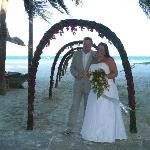 The staff made a beautiful archway of flowers for the procession to the beach