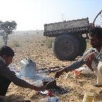 Brewing chai in the desert.