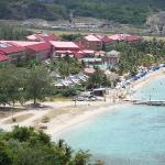 View of Sandals (red roofs) resort from pigeon island