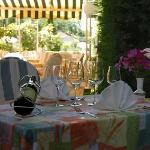 Table à la terrasse, à l'ombre du beau platane