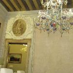 Public area on Noble floor with huge Murano chandelier