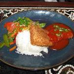 fried mahi mahi with an excellent sauce