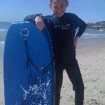 boogie boarding near main beach- so clean...