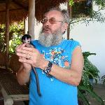 Kevin with Sweetie, the new addition to the rescued monkeys.