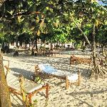 weißer, durch Palmen sehr schattiger Garten mit weißem Sand und komfortablen Liegen