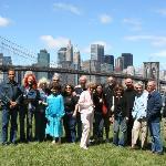 Tour group in Brooklyn Bridge Park in DUMBO