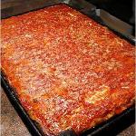 L&B Spumoni Gardens Sicilian style pizza
