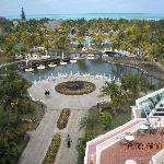View from the Melia showing the gardens, pool and the clear blue warm Ocean