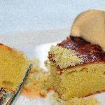 "Almond Cake with grapefruit pudding, ""hop rocks"", and whipped bittersweet caramel"