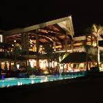 Night view of the hotel from the pool