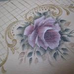 Detail hand painted flower on door panel