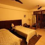 A standard twin room at Hotel Iora, The Retreat at Kaziranga National Park, Assam, India