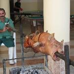 hand turned pig roast by the pool