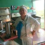 Wonderful fresh smoothies served by this wonderful lady
