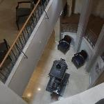 Looking down at the foyer from the stairs