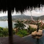 View of Zihuatanejo from the pool palapa