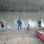 kids fishing riverside