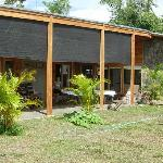 The patio and rooms at Casa Amanecer