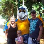 My family with macca macaw the mascot