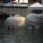 Awesome human-hamster balls to run on the river with