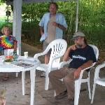 Cynthia, John and Joe on the patio