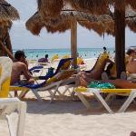 Private beach at Iberostar during crowded time of day