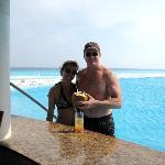 Us having a coconut beverage