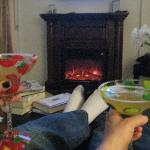 Margaritas by the fireplace