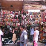 Babouches (traditional Moroccan leather slippers). Souk, Marrakech Medina.