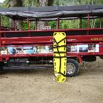 """These """"Safari"""" trucks are typical transport for excursions in Samana."""