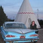 "one of the ""oldies"" in front of a wigwam room"