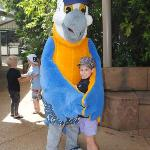 M daughter with Macca Macaw