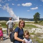 Justin and Lisa at Old Faithful - and the photographer blew it with the background - no clue who