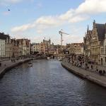 View of Canal in Ghent from Sint- Michielsbrug