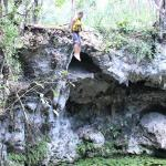 The brave guy in our group jumping into a cenote.