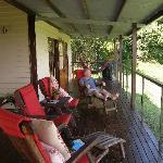 Enjoying the view from the verandah