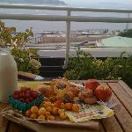 breakfast on the rooftop deck, purchased at the market.
