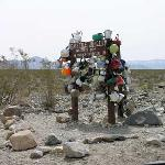 Teakettle Junction 6 mi before playa. Teakettles have personal inscriptions on them.
