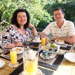 Willem & Denise having a lovely breakfast at Blaauwheim