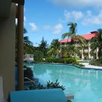 Standing on patio with steps that go right into the pool. Sandal Grande St Lucia