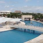 view of pool with swim up bar