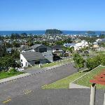 View of Whangamata beach from B&B balcony