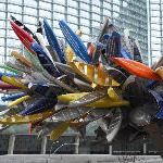 Sculpture outside the Vdara made of Canoes.