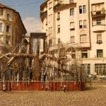 Tree sculpture in the jewish ghetto, each silver leaf has the name of a victum.